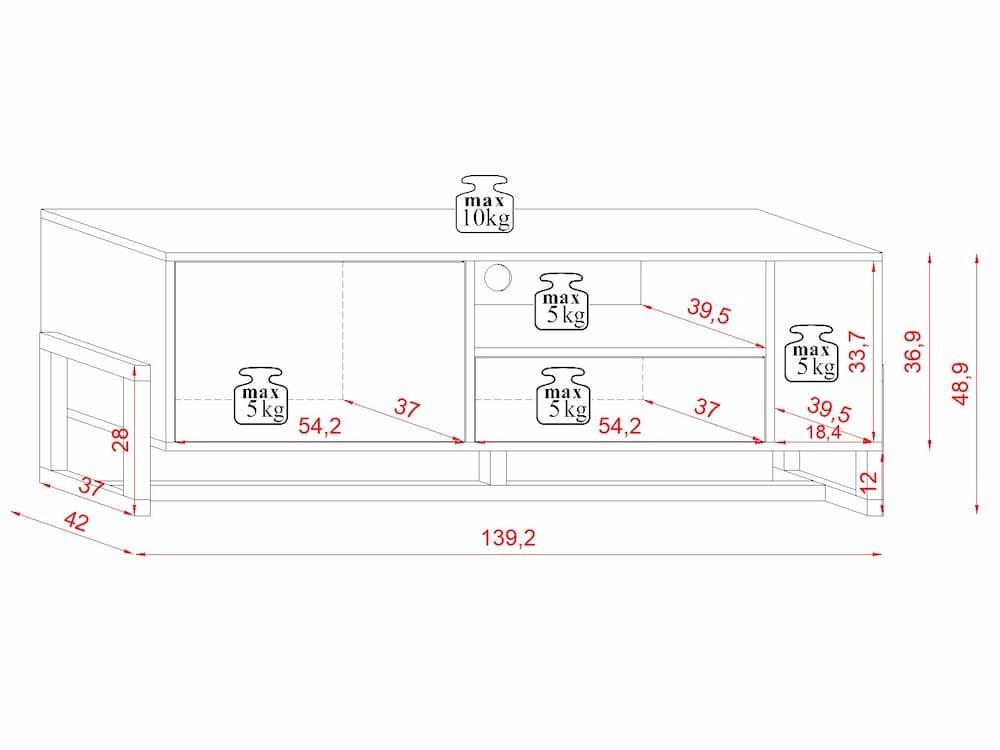 Meuble TV Larisa blanc 48,9 x 139,2 x 42 cm - dimensions