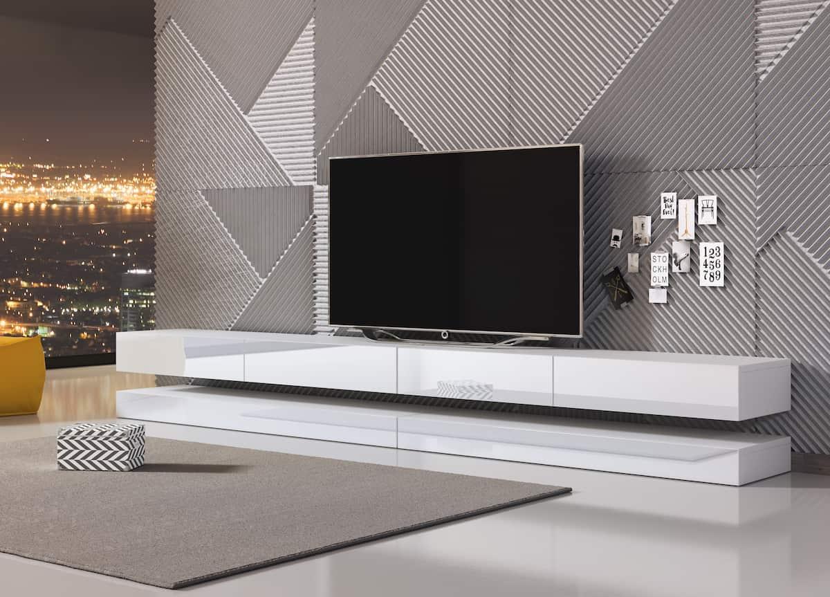 Meuble TV design Levitate double gris brillant et blanc mat 280 x 35 cm