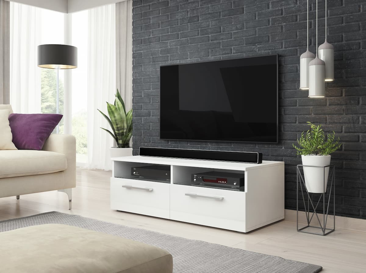 TV állvány PRIX fehér és magasfényű fehér