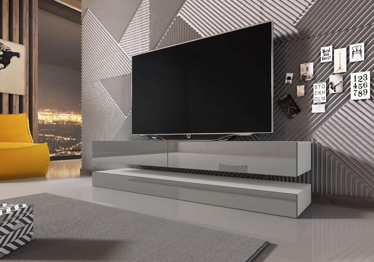 Szafka pod telewizor Vero w kolorze szarym motyw betonu