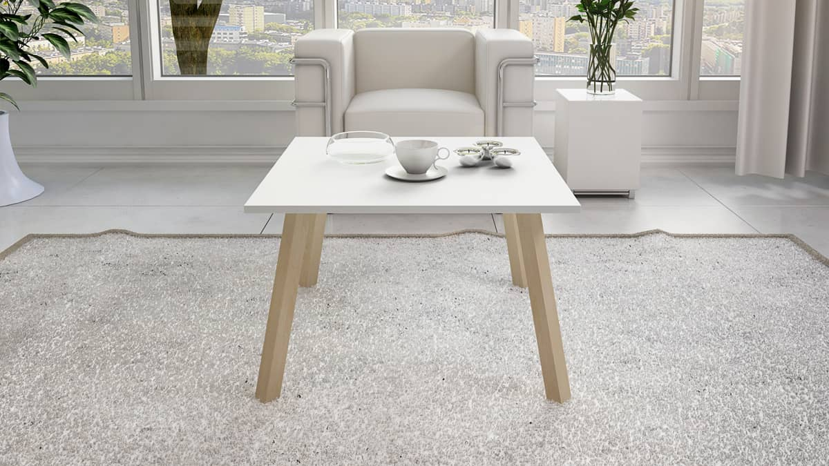 stolik skandynawski Doris kwadratowy z białym blatem