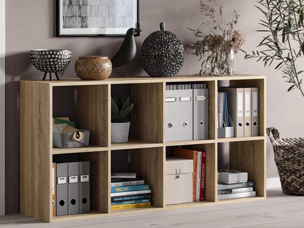 Bibliothèque  Homère 8 Compartiments chêne sonoma