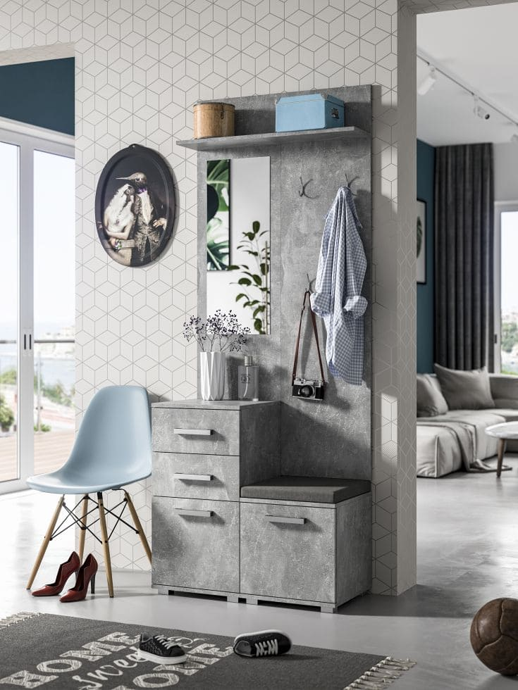 4 pieces hallway set Merlin grey with a marble effect with metal hangers and handles