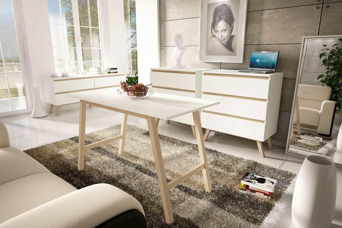 Commode 3 tiroirs Orkla blanc mat 43 x 60 x 90 cm