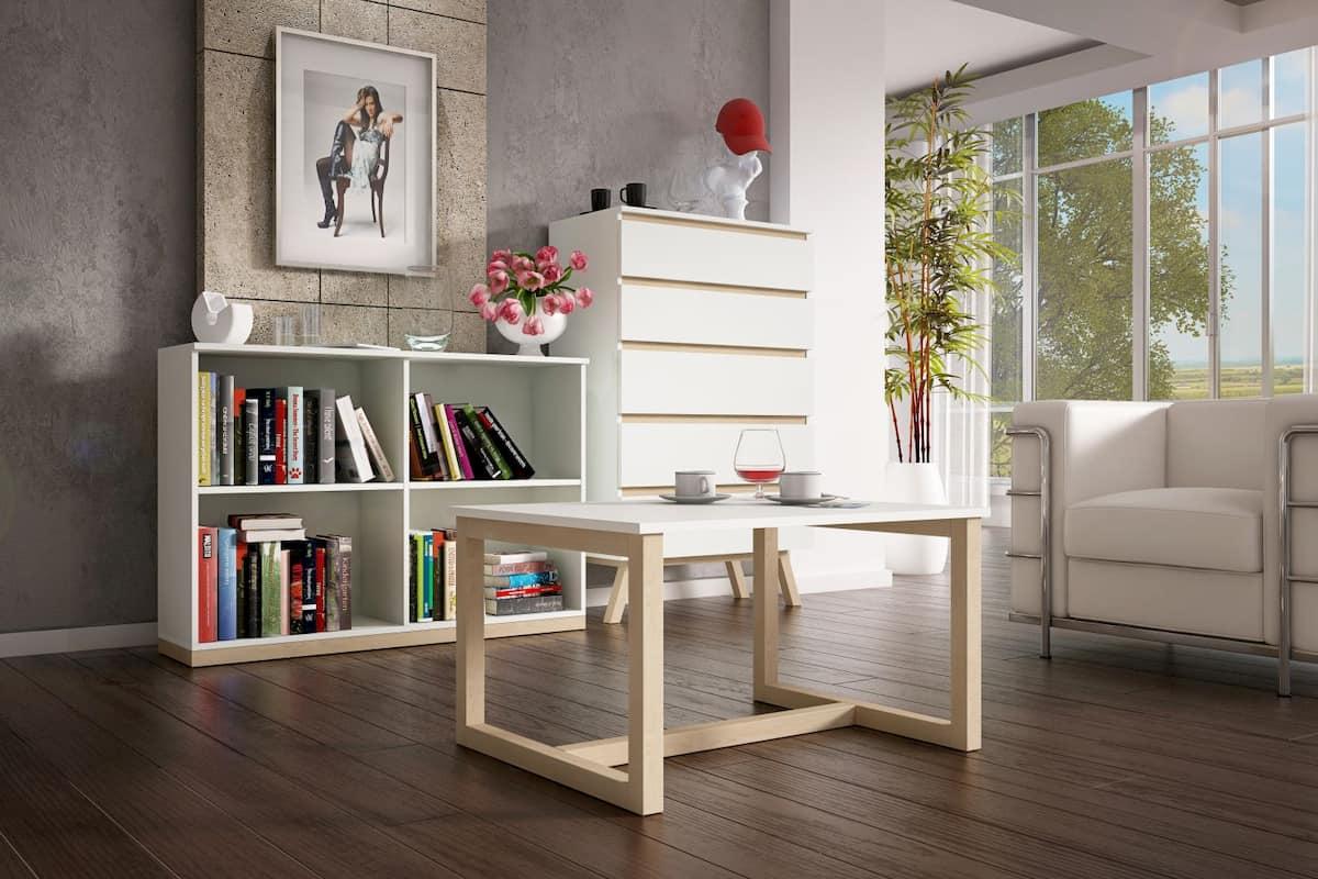 Meuble bibliothèque Oslo 4 compartiments chêne sonoma 82 x 118 x 32 cm
