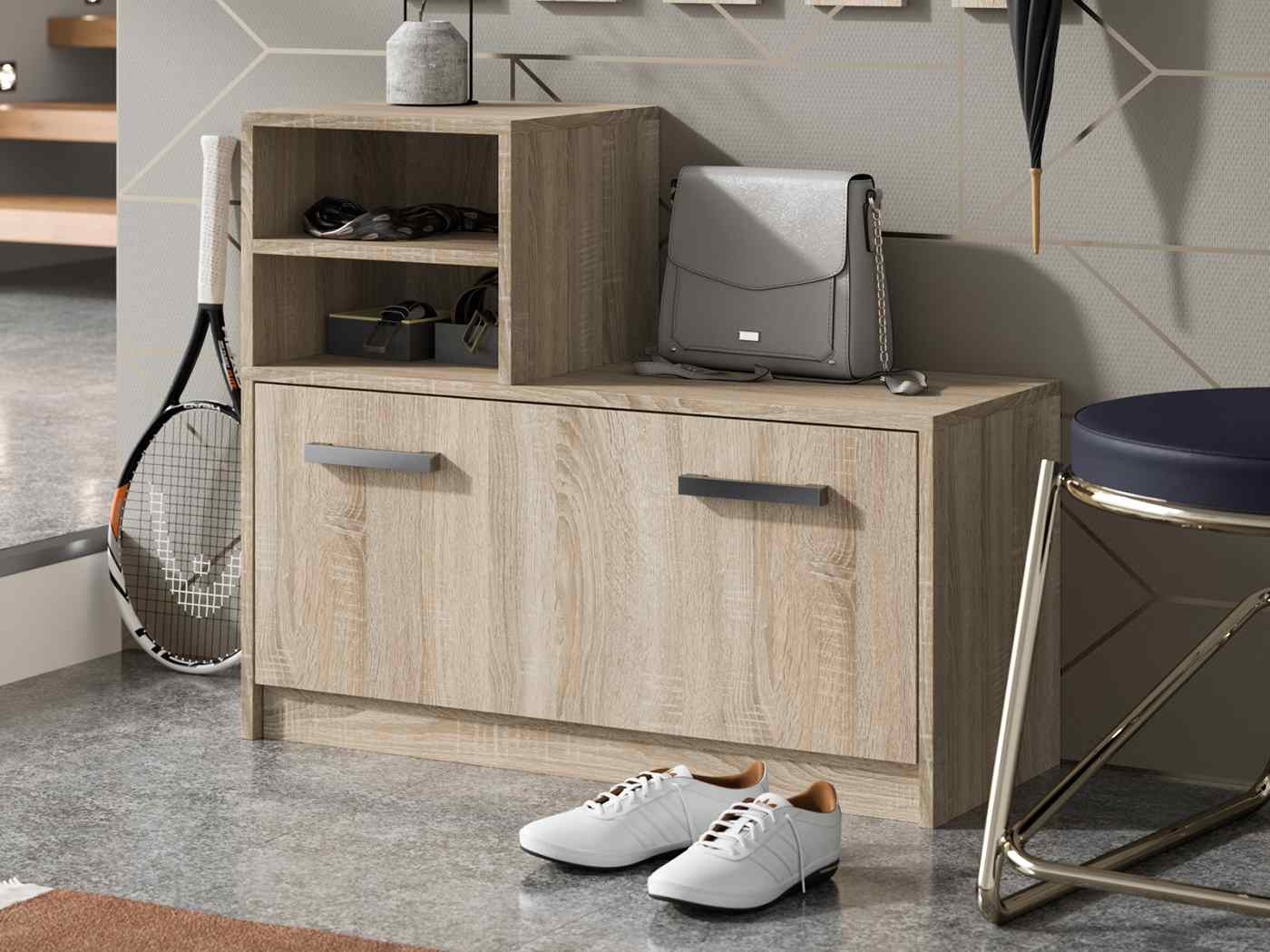 Shoe cabinet Ruby coulour white oak