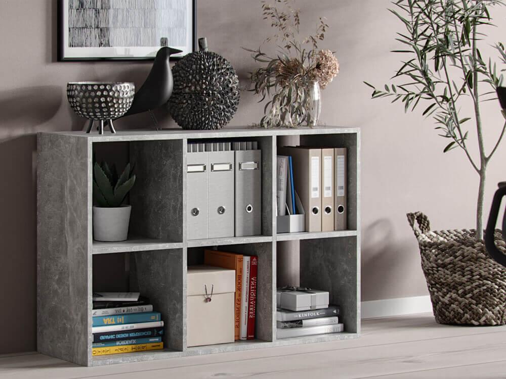 Bibliothèque  Socrate 6 Compartiments gris