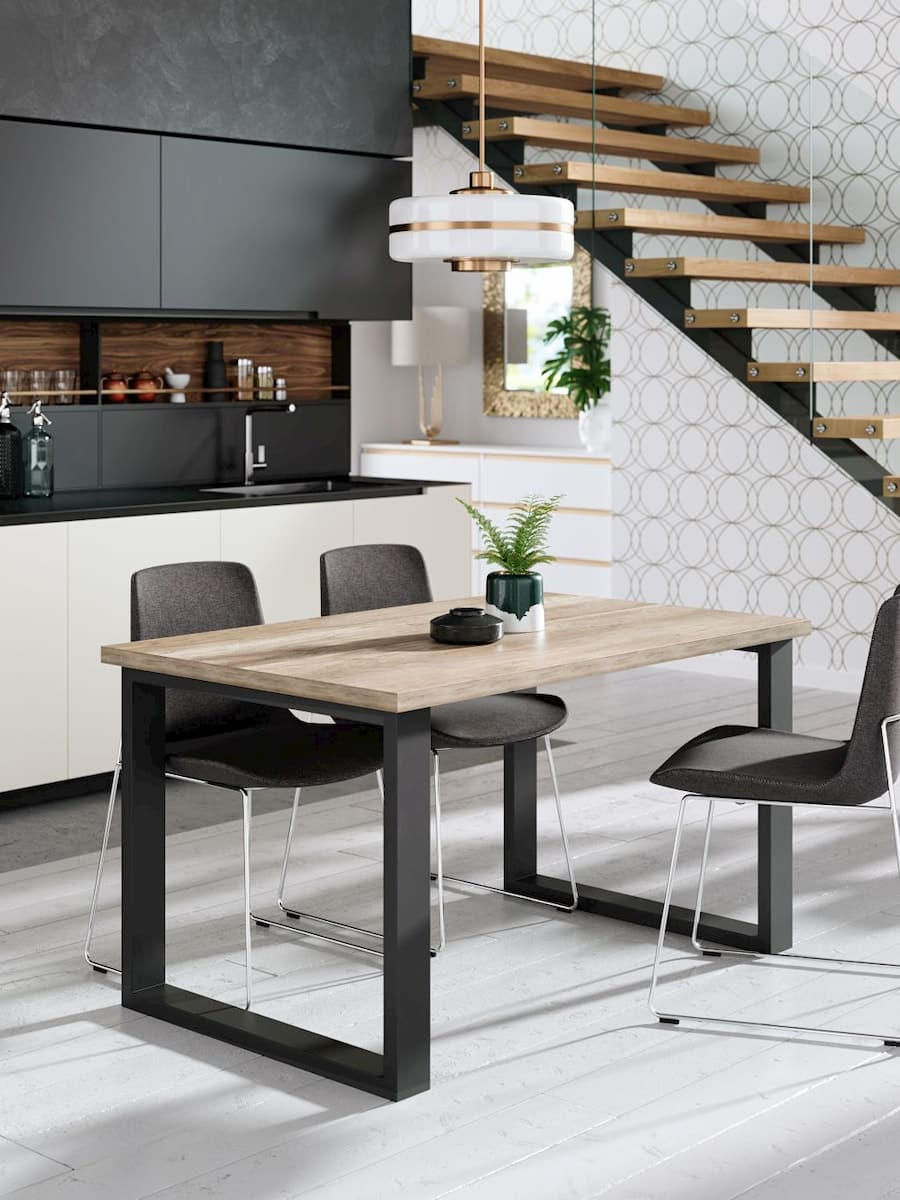 urban style industrial dinner table with black matt legs