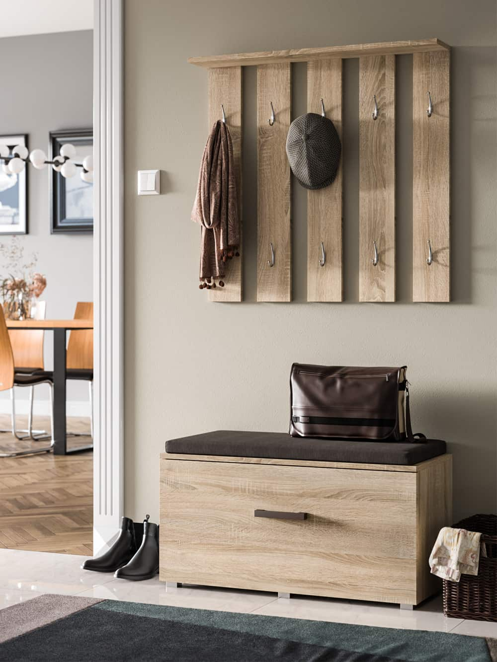 Hallway Set Stone White Oak