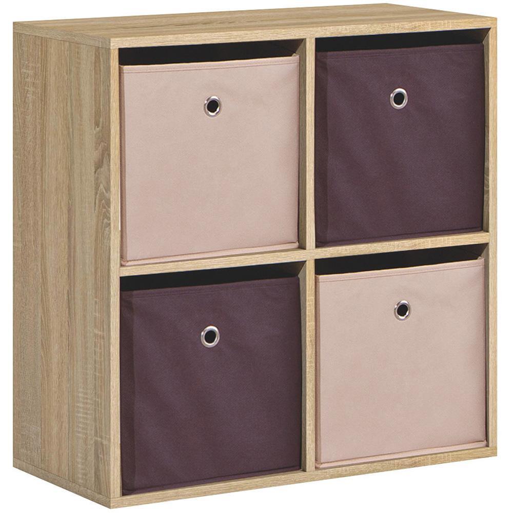 Bibliothèque  Platon 4 Compartiments noir mat avec boîtes de rangement en tissu