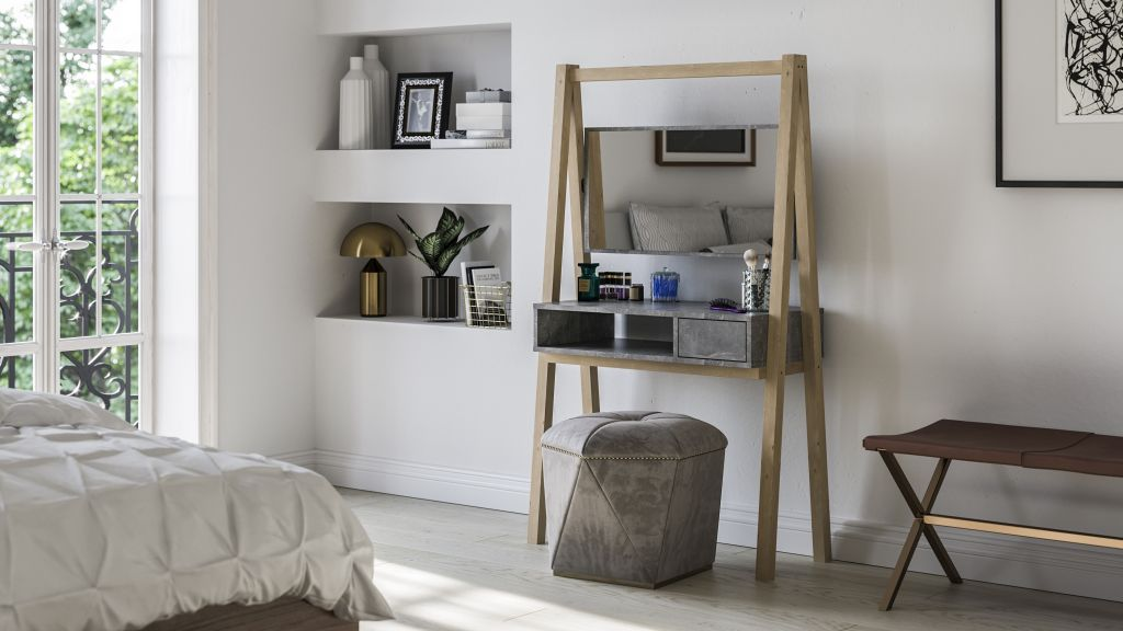 dressing table finished in grey with concrete like effect and wooden solid legs