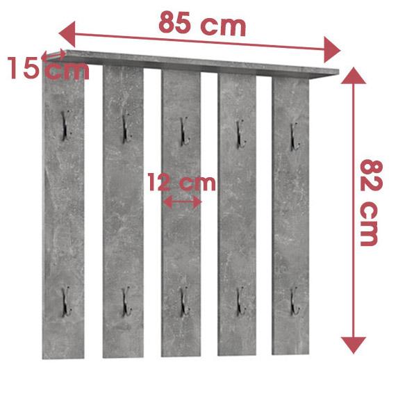 Appendiabiti da parete con 10 ganci STONE Grigio Cenere 82 x 85 cm